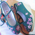 Embroidery Wedge Heel Shoes (green)