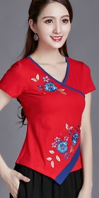 9d41ebf93 Short-sleeve Chinese Ethnic Embroidery Cotton Blouse (Ready-Made)