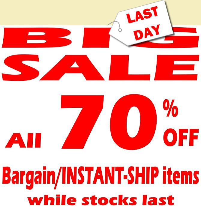 70% OFF for ALL BARGAIN ITEMS