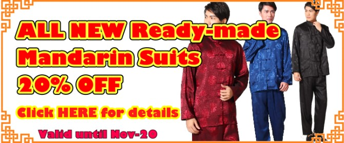 EXTRA 20% OFF for ALL Ready-made Mandarin Suits